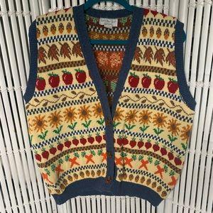 Vintage 80s Fall Patterned Vest